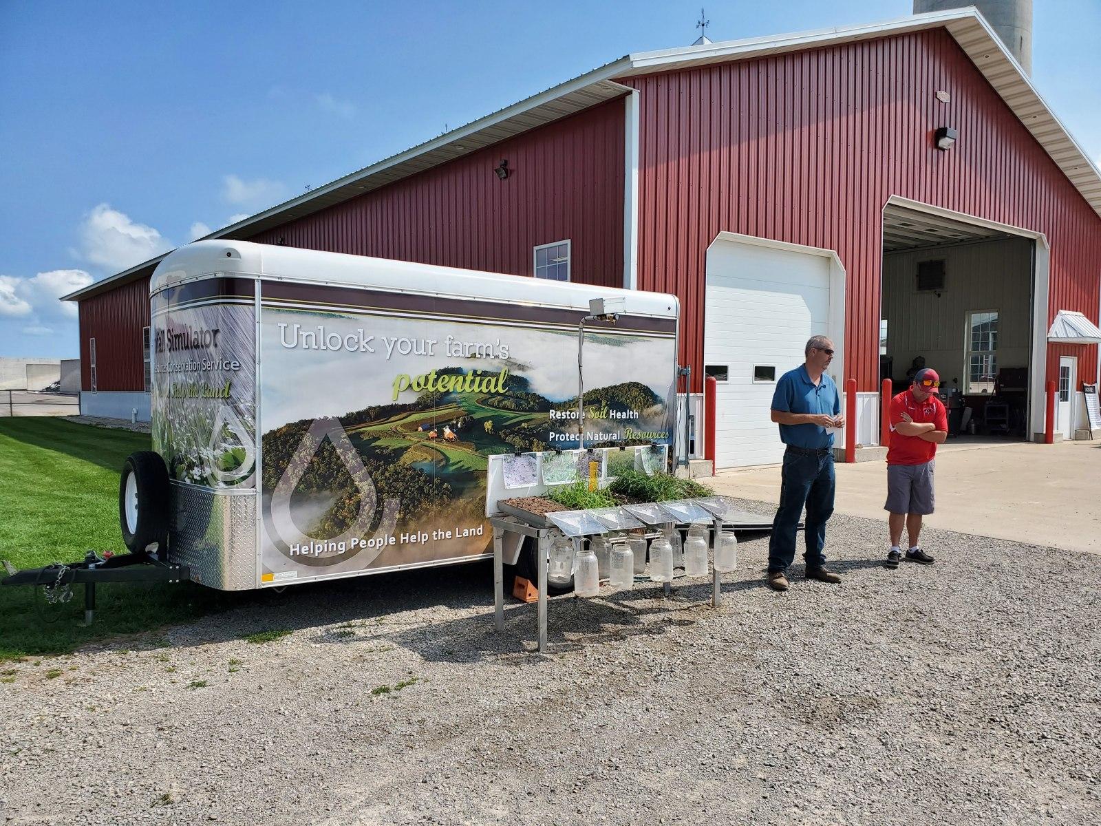 NRCS running the Rainfall Simulator on soils found throughout the Farm.